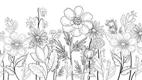 Flowers, outline Stock Photos