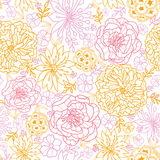 Flowers outlined seamless pattern background Royalty Free Stock Photography