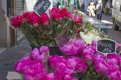 Flowers outside a shop in Paris, France Royalty Free Stock Photos