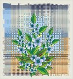 Flowers over halftone background. Vector illustration Stock Images