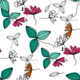 Flowers over white nature seamless pattern background Royalty Free Stock Photography
