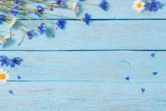 Flowers over  wooden background Royalty Free Stock Photo