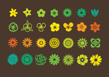 Flowers Pack. Pack of Different Flowers Silhouettes Royalty Free Stock Image