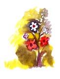 Flowers painted in Watercolor. Artistic flowers painted in watercolor  isolated on white Stock Photos
