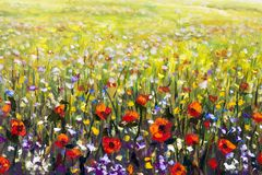 Red poppies flower field oil painting, yellow, purple and white flowers artwork. Flowers painting, red poppies, oil paintings landscape impressionism artwork Stock Image