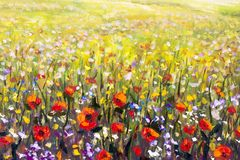 Red poppies flower field oil painting, yellow, purple and white flowers artwork. Flowers painting, red poppies, oil paintings landscape impressionism artwork Royalty Free Stock Image