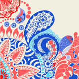 Flowers and paisley pattern decorative doodle Colorful backgroun Royalty Free Stock Images