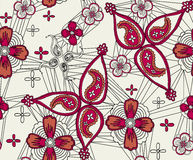 Flowers and paisley vector illustration