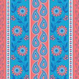 Flowers and paisley striped pattern vector illustration