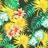 Flowers and Palm PAttern Stock Images