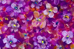 Flowers pansy, violet texture oil painting. Abstract hand-painted flowers background. Painting abstract mix colorful pansy flowers background. horizontal Stock Images
