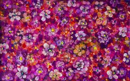 Flowers pansy, violet texture oil painting. Abstract hand-painted flowers background. Painting abstract mix colorful pansy flowers background. horizontal Stock Photos