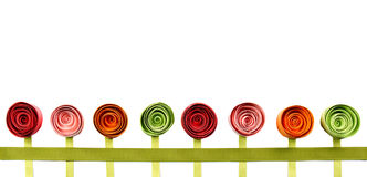 Flowers, paper quilled, in a line Royalty Free Stock Photography