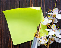 Flowers and paper Stock Image
