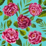 Flowers pattern - pink peonies, roses oil painting. Flowers pattern, beautiful oil watercolor peonies roses, bright painting inspired flower print ~ seamless Stock Photos
