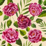 Flowers pattern - pink peonies, roses oil painting. Flowers pattern design pink peonies, roses with green leaves floral flower. Hand drawn creative flowers Stock Photo