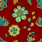 Flowers pattern. Fantasy  hand drawn flowers vector seamless pattern Royalty Free Stock Photos