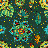 Flowers pattern. Fantasy  hand drawn flowers vector seamless pattern Royalty Free Stock Image