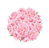 Flowers pattern with peonies. Round bouquet of pink flowers. Floral watercolor Royalty Free Stock Photo