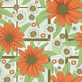 Flowers pattern red. Seamless vector texture with red and white flowers Royalty Free Stock Photo