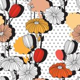 Flowers. Pattern with retro style. Flowers. Collage. Seamless pattern. Decorative image for print and fabric Stock Photos