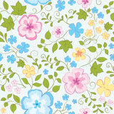 Flowers  pattern. Seamless hand drawn pattern with rose blue and yellow flowers Royalty Free Stock Image