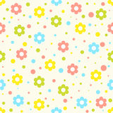 Flowers pattern. Seamless vector pattern with circles and baby rocking horse. For cards, invitations, wedding or baby shower albums, backgrounds, arts and stock images