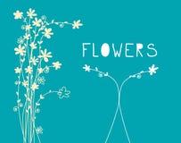 Flowers Pattern - Flat Design Floral Background. Flowers Pattern - Vector Flat Design Floral Background stock illustration