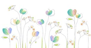 Flowers pattern. Watercolor bouquet of flowers stock illustration