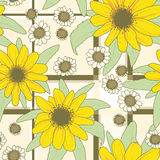 Flowers_pattern yellow. Seamless vector texture with yellow gerberas and white camomile Stock Photo