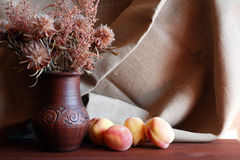 Flowers And Peach Stock Photography