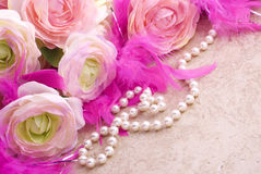 Flowers and Pearls with Copy Space Stock Photography
