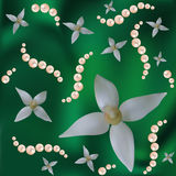Flowers and pearls on the green. Abstract vector background with colours and pearls. Are used mesh. There is a variant in a vector Stock Images