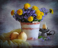 Flowers and pears Royalty Free Stock Image