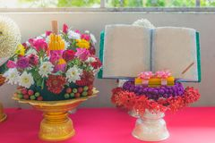 Flowers Pedestal tray for The Teachers day. Ceremony stock photography