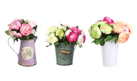 Flowers peony in vase with decor set isolated Royalty Free Stock Photography