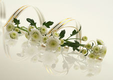 Flowers with  perls. Picture with flowers, three perls and reflections Stock Images