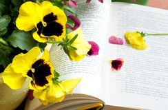 Flowers and petals on book Stock Photography