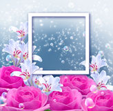 Flowers and and photo frame Royalty Free Stock Image