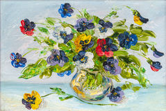 Flowers, picture oil paints on a canvas. The vase with the flowers drawn by oil on a canvas royalty free illustration