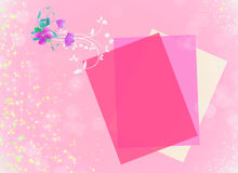 Flowers on pink background with empty card Royalty Free Stock Image