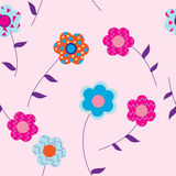 Flowers on pink background with leaves Royalty Free Stock Images
