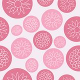 Flowers in pink Bubbles Seamless Pattern Design vector illustration