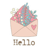 Flowers in pink envelope. Vector hand drawn illustration Stock Photos