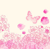 Flowers and pink watercolor blots Royalty Free Stock Image
