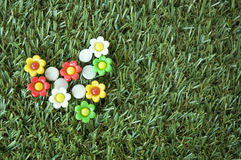 Flowers pins on grass Stock Image