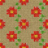Flowers pixelated image generated seamless texture Royalty Free Stock Photography