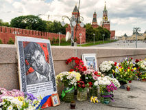 Flowers at the place of murder of Boris Nemtsov, near Moscow Kre Stock Photo