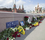 Flowers on a place of murder of the oppositionist Boris Nemtsov Royalty Free Stock Image