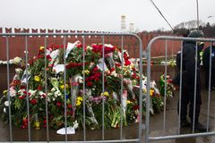 Flowers on a place of murder of the oppositionist Boris Nemtsov Stock Photo